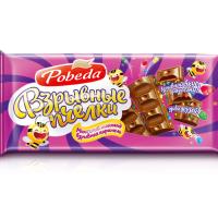 (1111) Победа 80гр*25шт Взрывные Пчёлки шоколад